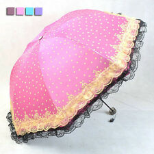 Windproof Anti UV Clear/Rain Korean Lacework Princess Folding Umbrella KT0005