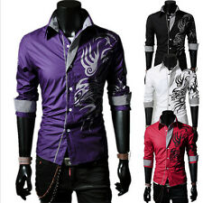 Mens Design Dress Casual Shirts Dragon Tattoo Slim Fit Stylish Long Sleeve Tops