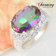 TOP Quality Beautiful Rainbow Fire Mystical Topaz Gemstone Silver Ring Sz 7 8 9