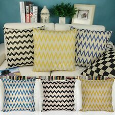 Chevron Zig Zag Linen Cotton Throw Pillow Case Sofa Bed Home Decor Cushion Cover
