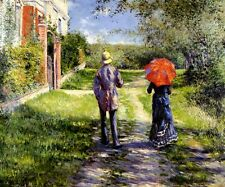 RISING ROAD COUPLE WALKING COUNTRYSIDE 1881 FRENCH PAINTING BY CAILLEBOTTE REPRO