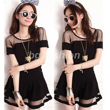 Sexy Women See through Mesh Short Sleeve Tee T Shirt Tops Blouse + Skirt Dress