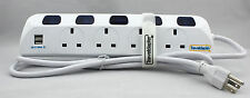 US USB Travel Adaptor Plug Earthed Grounded 3 pin 4 gang 1.5m Extension Lead