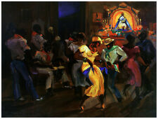 7640.Cuban people dancing at club.saint in background.POSTER.art wall decor