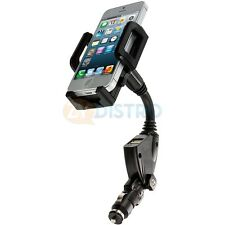 Dual USB 2-Port Car Charger Mount Holder Black for Cell Phones iPhone Galaxy S5