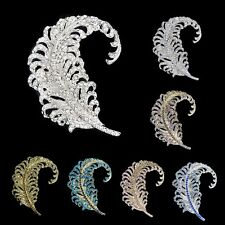 7 Color Bird Peacock Plume Brooch Pin Rhinestone Crystal Curved Feather