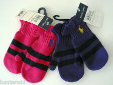 NWT Ralph Lauren Infant Girls Cotton Wool Striped Mittens Sz 9m 12m 18m 24m NEW