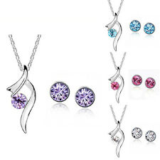 New Crystal 18K White Gold GP Swarovski Charm Rhinestone Pendant Necklace Sets