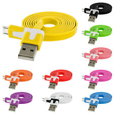 Flat Noodle Micro USB Data Cable 3FT for Samsung Galaxy S5 S4 S3 S2 Cell Phones