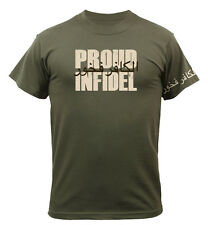 proud infidel t-shirt military design olive drab short sleeve rothco 61360