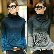 Multi-Colors Women Turtleneck Wool Pullover Sweater Tree Pattern Shirt Tops S-XL