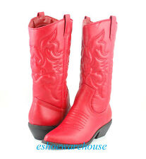 Red Awesome Embossed Stitch Detail Western Cowboy Cowgirl Boots