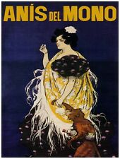 7985.Anis del mono.woman walking with chimp with drink.POSTER.art wall decor