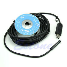 5/10/15M 6LED USB Waterproof Endoscope Borescope Snake Inspection Camera 7mm New