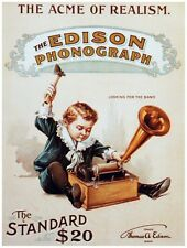 8101.Edison phonograph.boy playing with record player.POSTER.art wall decor