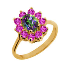 1.45 Ct Oval Green Mystic Topaz Pink Sapphire 18K Yellow Gold Ring
