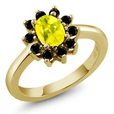 1.28 Ct Oval Canary Mystic Topaz Black Diamond 14K Yellow Gold Ring