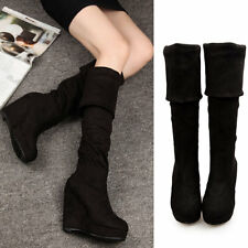 Womens High Heels Platform Suede Pull On Wedges Sexy Splice Over The Knee Boots