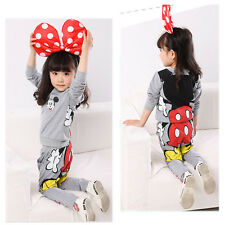 Baby Girls Mickey Mouse Minnie Tops Hoodie Sweatshirt Tracksuit Two-pieces Set
