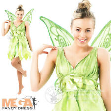 Tinker Bell + Wings Ladies Fancy Dress Fairytale Peter Pan Womens Costume Outfit