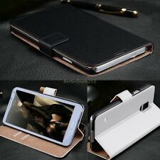 Genuine Real Leather Flip Stand Wallet Case Cover For Samsung Black White B2