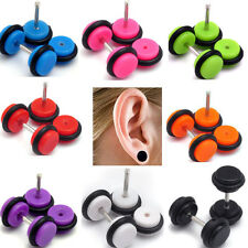 Pair Acrylic Cheater Illusion Fake Ear Plugs Earring Gauges Taper Body Piercing