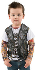 Toddler Boy Faux Real Tees Motorcycle Biker T-Shirt Costume Tattoo Sleeves 2T 3T