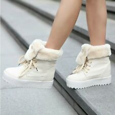 New Fashion Womens Fur Ankle Boots Lace Up Trifle Winter Snow Knight Shoes Beige