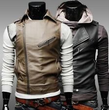 New Fashion Men Slim Fit Leather Sleeveless Biker Vest Jacket Coat Waistcoat