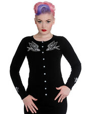 Hell Bunny Skelebird Cardigan Top Black Swallow Skeleton Tattoo Rockabilly Pinup