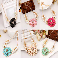 Fashion pearl costly temperament sunflower flower necklace 6 colour