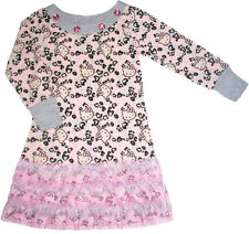 NEW Hello Kitty *Leopard Hearts Floral Jewel* Tulle Ruffle Dress Top Size 2T-6X
