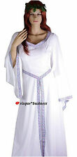 Medieval White Witch Velvet Wedding Gown Fancy Dress Costume - 10 12 14 16 18
