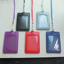 PU leather Card Badge Holder + lanyard 4 reel clip ID Retractable one or 3 Set C