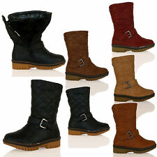 D6Y GIRLS BOOTS QUILTED FULLY LINED FAUX FUR WARM WINTER THICK SOLE SIZE BUCKLE
