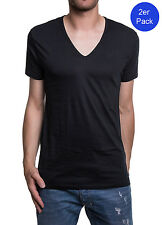 Diesel 2er Pack Men's T - Shirt Dave Deep v Neck the Essential Cotton - Black