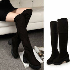 Ladies Cuban Heels Cleated Sole Motorcycle Suede Thigh High Over The Knee Boots
