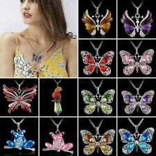 BEAUTIFUL RHINESTONE ENAMEL PARROT NECKLACE PENDANT SWEATER CHAIN CRYSTAL GIFTS