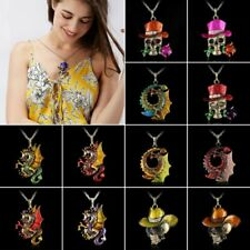 Retro Silver Jewelry Necklace Pendant Skull Flower Crystal Sweater Chain Fashion