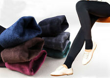 New Womens Plain Winter Thick Thermal Fleece Lined Stretch Warm Leggings Tights