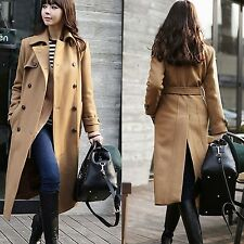 Fashion Women's Double-breasted Wool Blend Coat Outwear Trench Belt Long Jackets