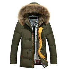 Men Warm Fur Collar Hooded Parka Winter Thick Duck Down Coat Outwear Down Jacket