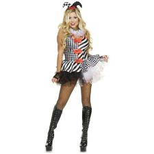 Black & White Jester Costume Adult Halloween Fancy Dress