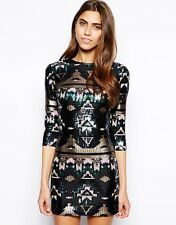 AZTEC BLACK PREMIUM SEQUIN BODYCON MINI  DRESS SIZE 8 10 12 14 16