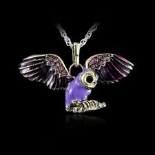 Eternal Love Owl Rhinestone Elements Crystal Pendant Sweater Necklace Chain Gift