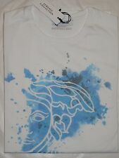 Nwt VERSACE Collection Men's White Blue Print Medusa T-Shirt