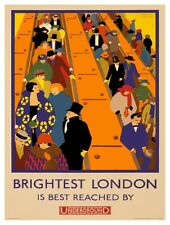9514.Brightest london.people going down escalator.POSTER.decor Home Office art
