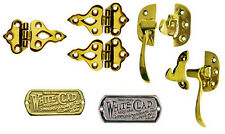 Icebox Hardware:  Brass Hinges, Latches, Nameplates, Sold Separately or in Sets