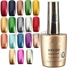 Chrome Metallic Soak Off Shellac Nail Art Tips Manicure Gel Polish Varnish 15ml