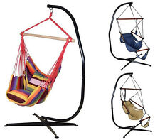 Solid Steel Hammock C Stand + Hanging Rope Air Porch Patio Yard Tree Swing Chair